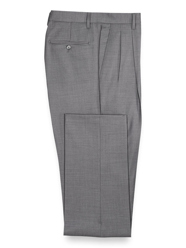 Solid Wool Pleated Suit Pants
