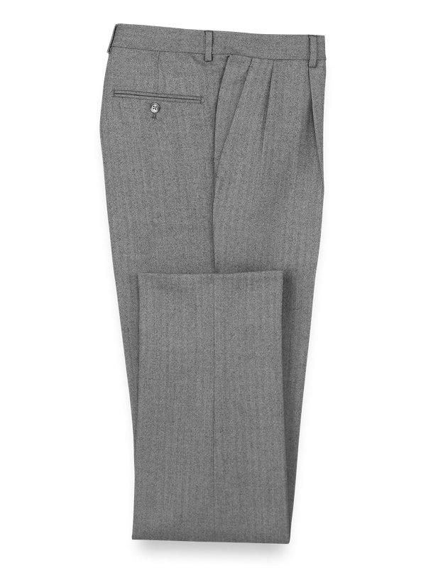 Wool Herringbone Pleated Suit Pants