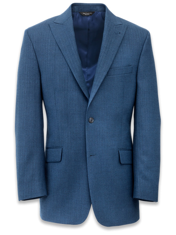Wool Herringbone Peak Lapel Suit Jacket