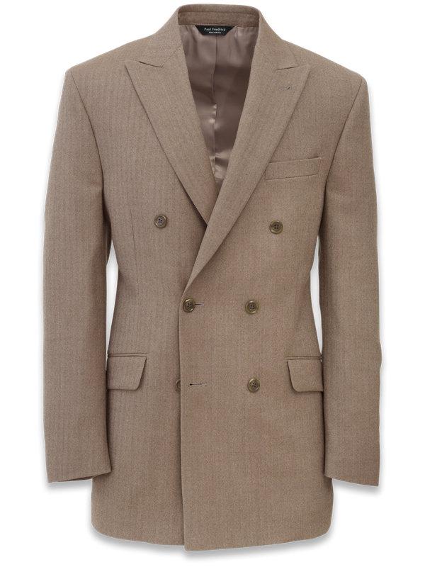Wool Herringbone Double Breasted Suit Jacket