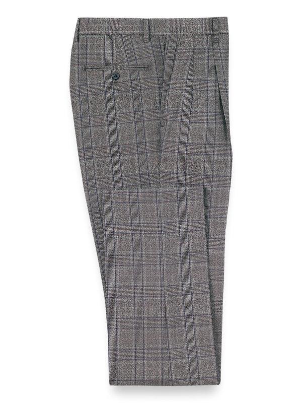 Plaid Pleated Suit Pants