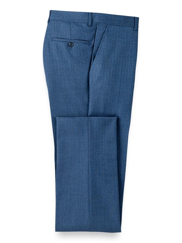 Wool Herringbone Flat Front Suit Pants