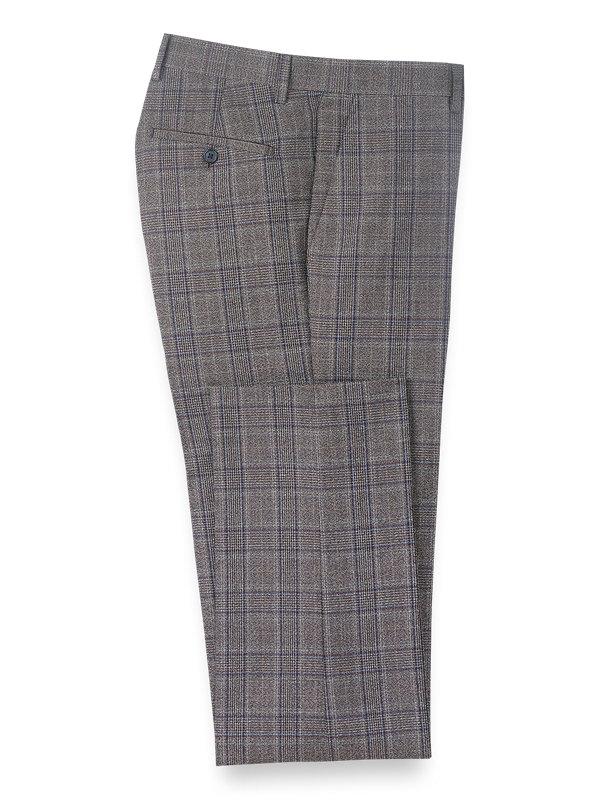 Plaid Flat Front Suit Pants