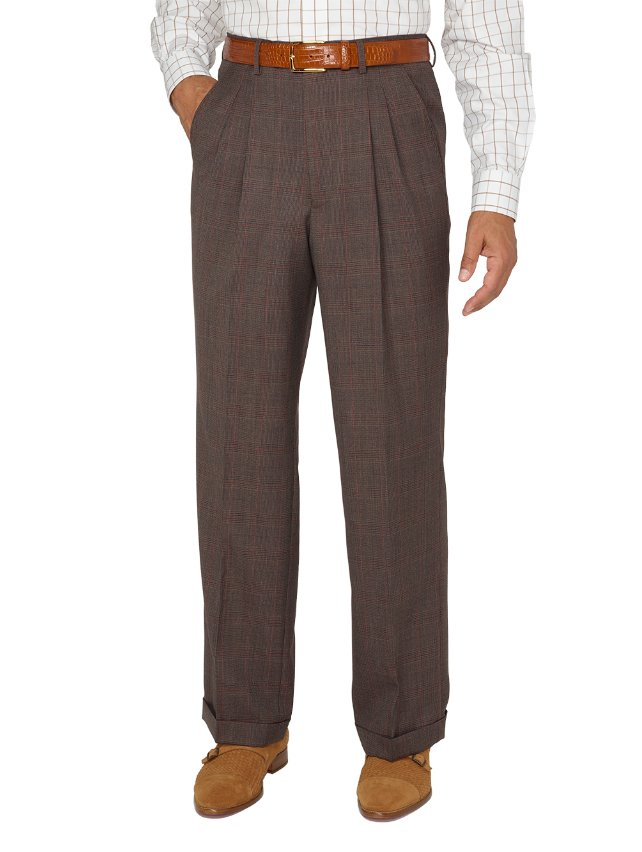 Super 100's Wool Plaid Pleated Suit Pants