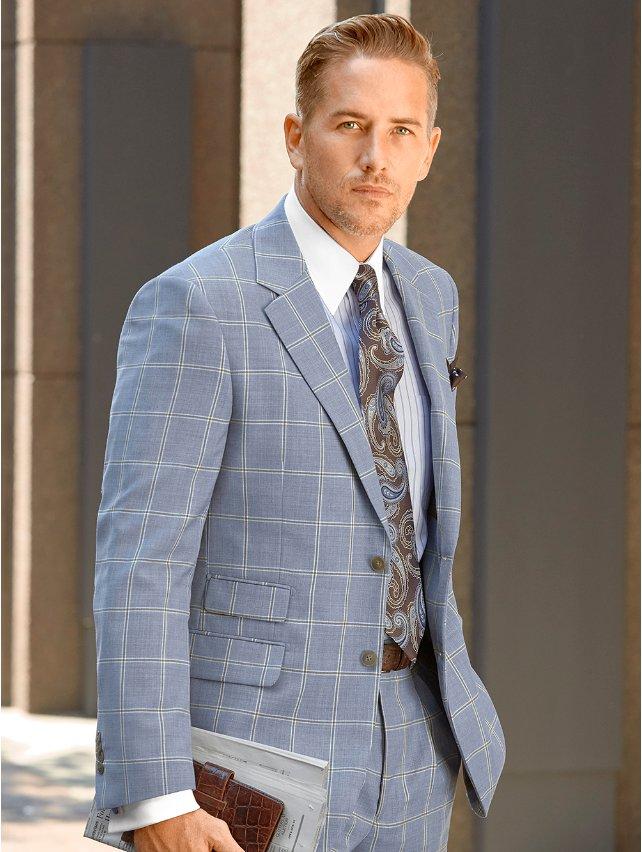 Super 100's Wool Windowpane Suit Jacket