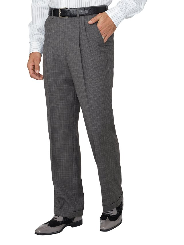 Super 100's Wool Textured Pleated Suit Pants