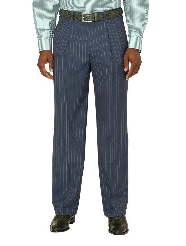Wool Stripe Pleated Suit Pants