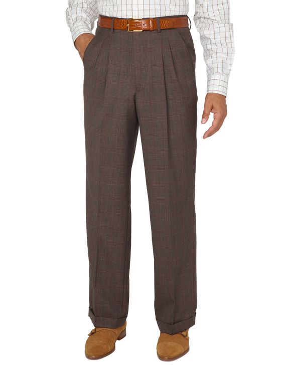 Super 100's Wool Plaid Pleated Suit Pants