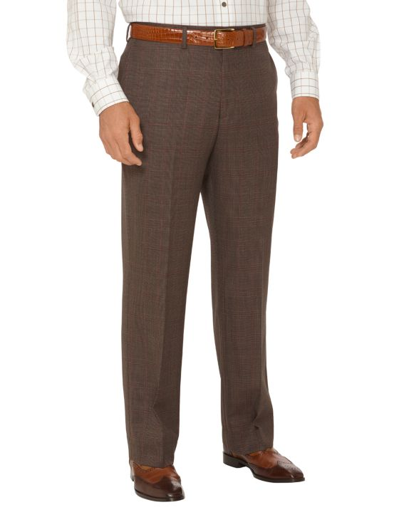 Super 100's Wool Plaid Flat Front Suit Pants
