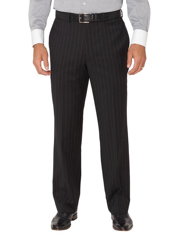 Wool Stripe Flat Front Suit Pants