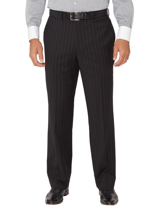 Super 100's Wool Stripe Flat Front Suit Pants