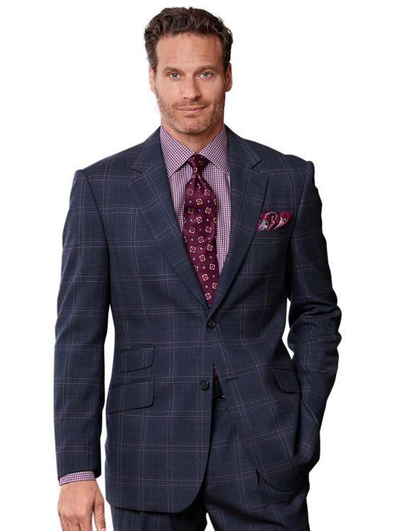 Wool Windowpane Suit Jacket
