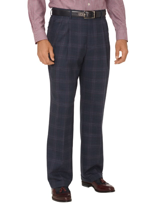 Wool Windowpane Pleated Suit Pants