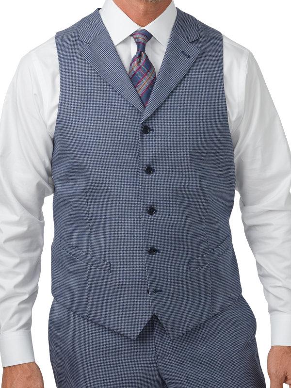 Wool Houndstooth 5 Button Notch Lapel Vest