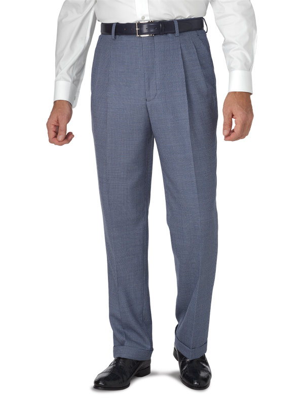 Classic Fit Wool Houndstooth Pleated Suit Pant