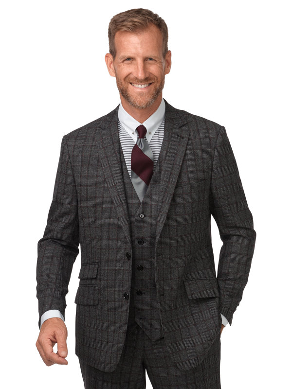 Classic Fit Wool Glen Plaid Notch Lapel Suit Jacket