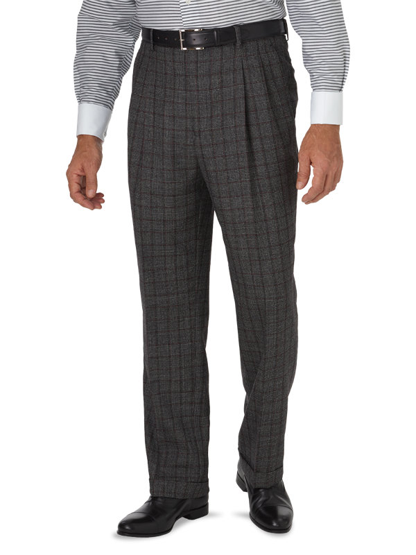 Classic Fit Glen Plaid Pleated Suit Pant
