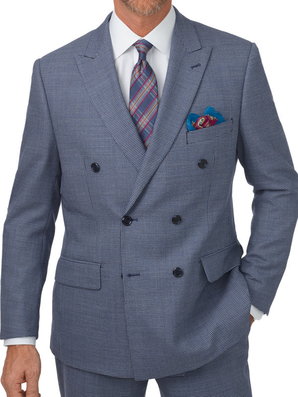 Tailored Fit Wool Houndstooth Double Breasted Suit Jacket