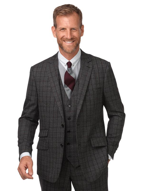 Tailored Fit Wool Glen Plaid Notch Lapel Suit Jacket