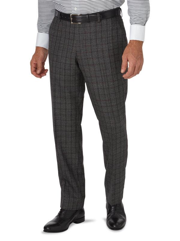 Tailored Fit Wool Glen Plaid Flat Front Suit Pant