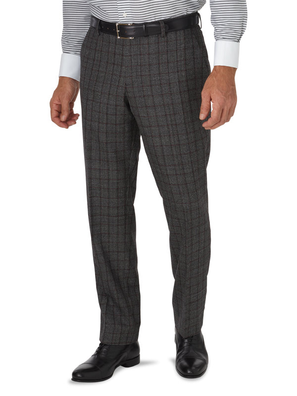 Tailored Fit Wool Glen Plaid Flat Front Suit Pant