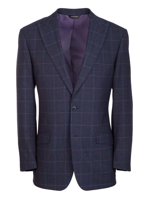 Tailored Fit Wool Plaid Peak Lapel Suit Jacket