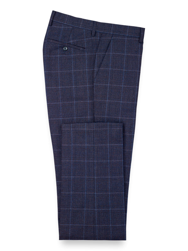 Tailored Fit Wool Plaid Flat Front Suit Pant