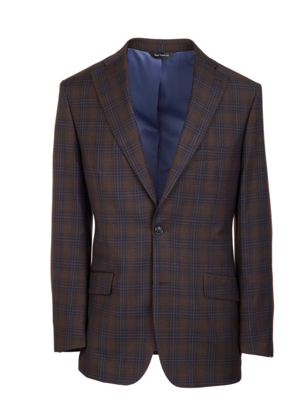 Tailored Fit Wool Plaid Notch Lapel Suit Jacket