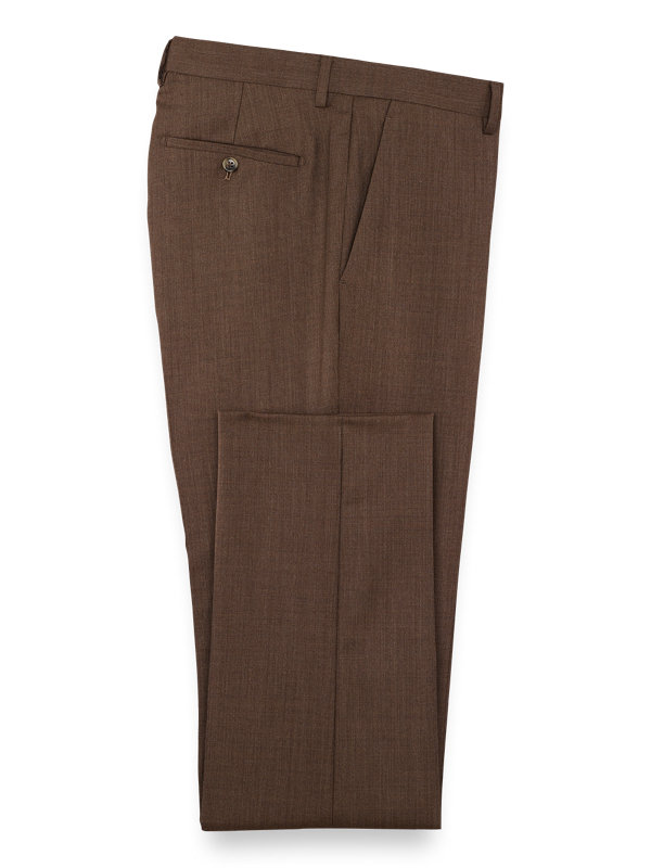 Wool Solid Flat Front Suit Pants