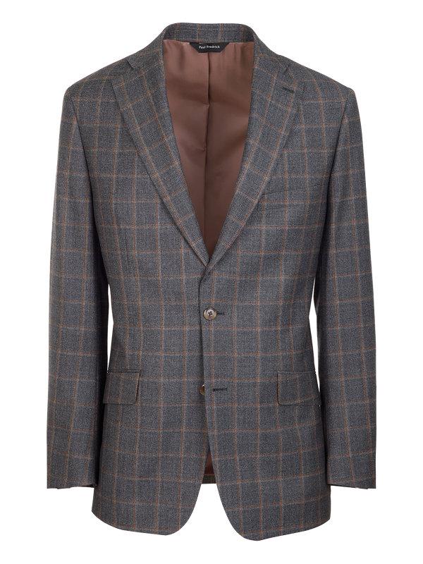 Tailored Fit Wool Windowpane Notch Lapel Suit Jacket