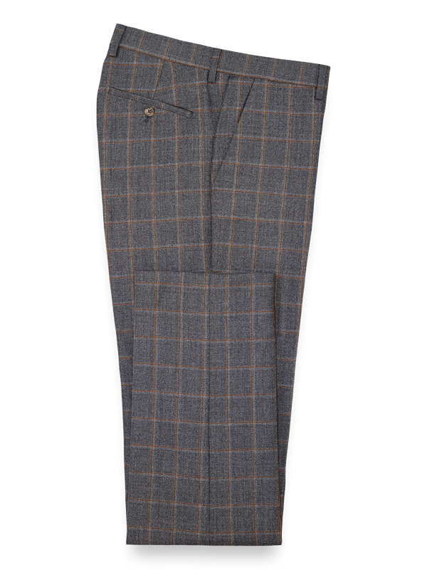 Tailored Fit Wool Windowpane Flat Front Suit Pant