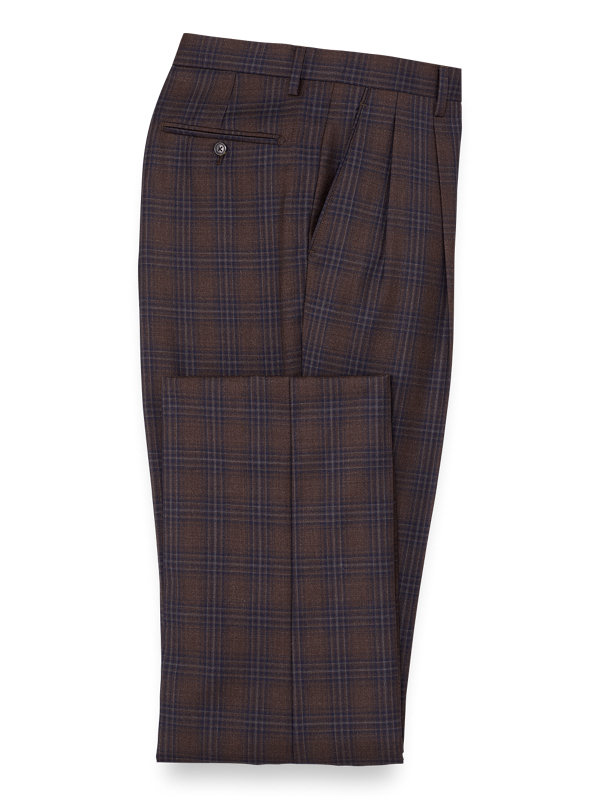 Classic Fit Wool Plaid Pleated Suit Pant