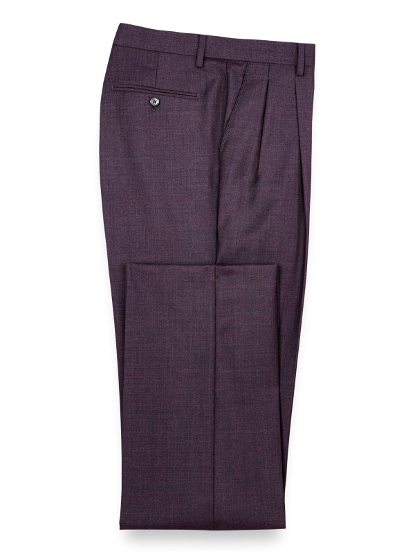 Wool Solid Pleated Suit Pants