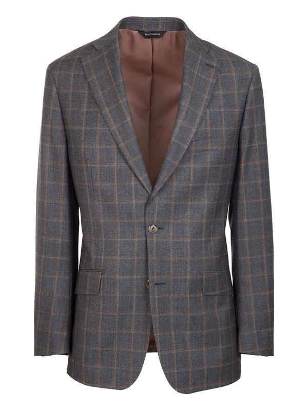 Classic Fit Wool Windowpane Notch Lapel Suit Jacket