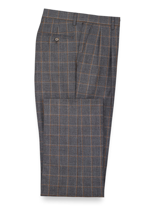 Classic Fit Wool Windowpane Pleated Suit Pant