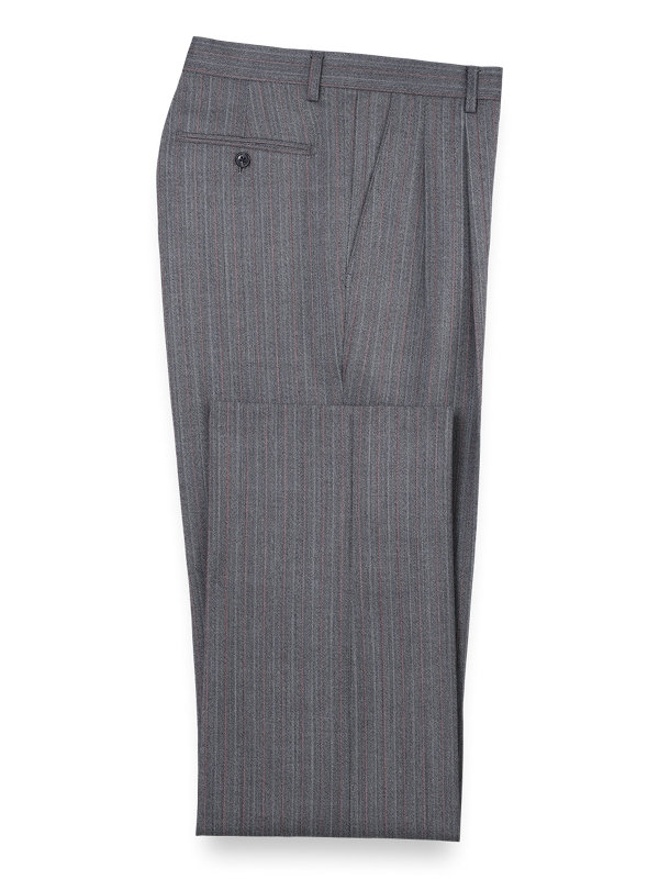Wool Herringbone Pleated Front Suit Pants