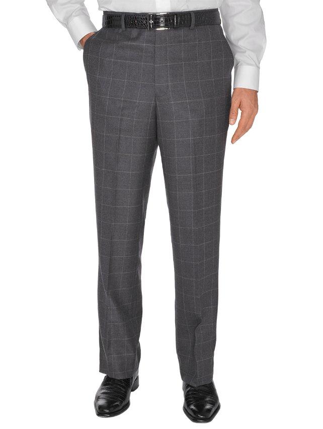 Charcoal Windowpane Wool Flat Front Suit Pants