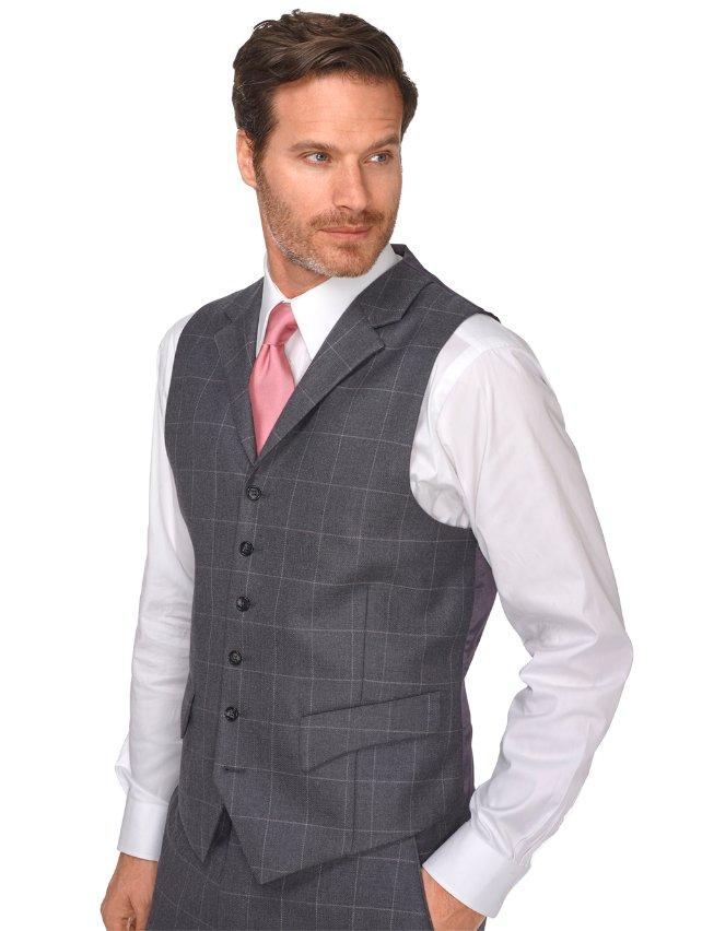 Charcoal Windowpane Wool Suit Vest