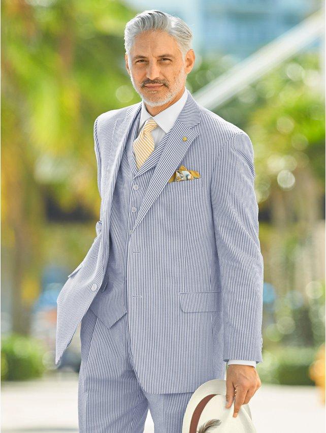 Navy Stripe Cotton Seersucker Suit Jacket