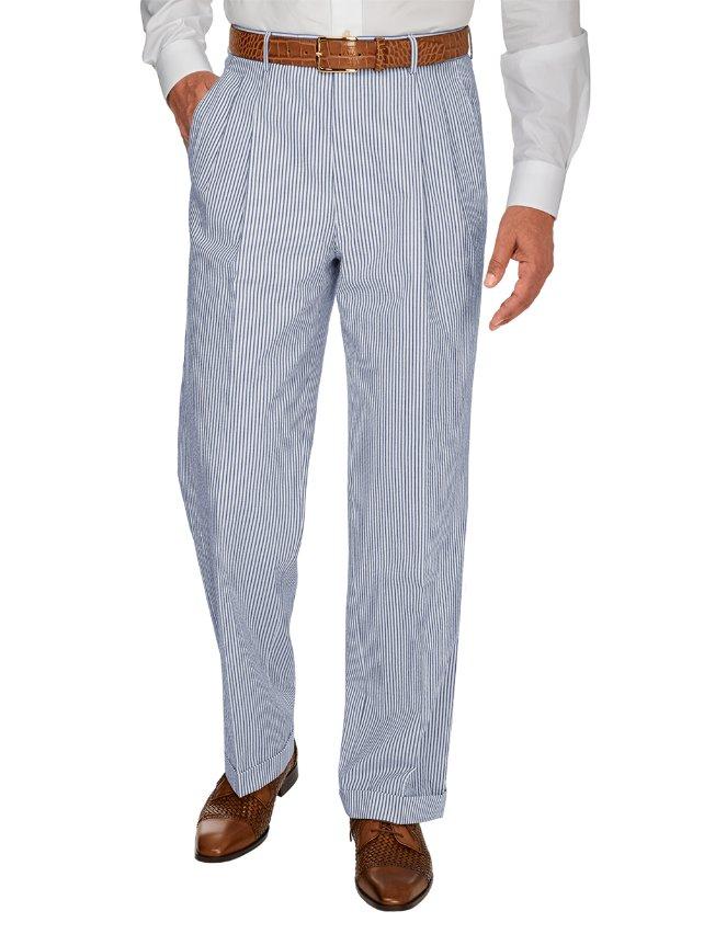 Navy Stripe Cotton Seersucker Pleated Suit Pant