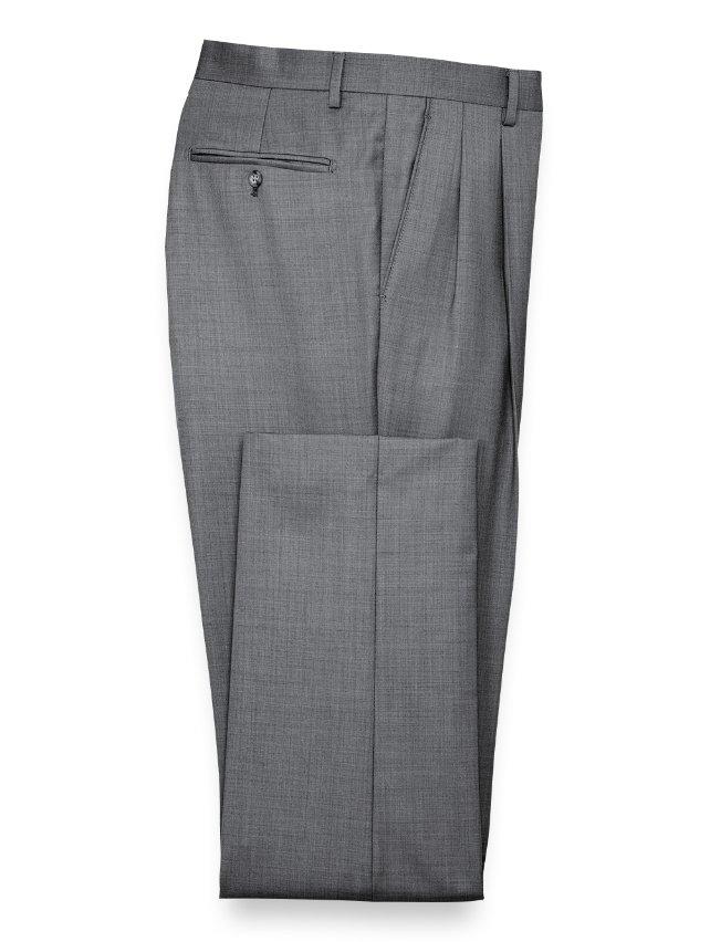 Super 120's Sharkskin Pleated Suit Pants