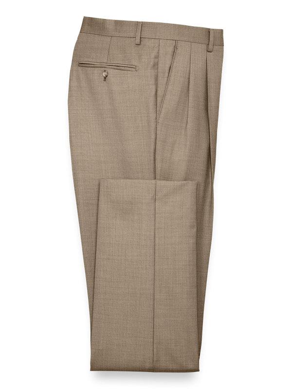 Classic Fit Sharkskin Pleated Suit Pants