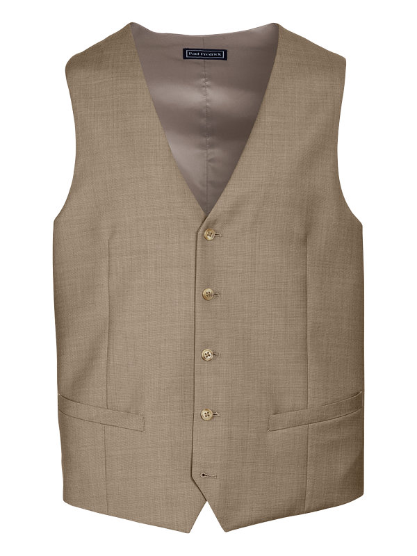 Classic Fit Sharkskin No Lapel Suit Vest