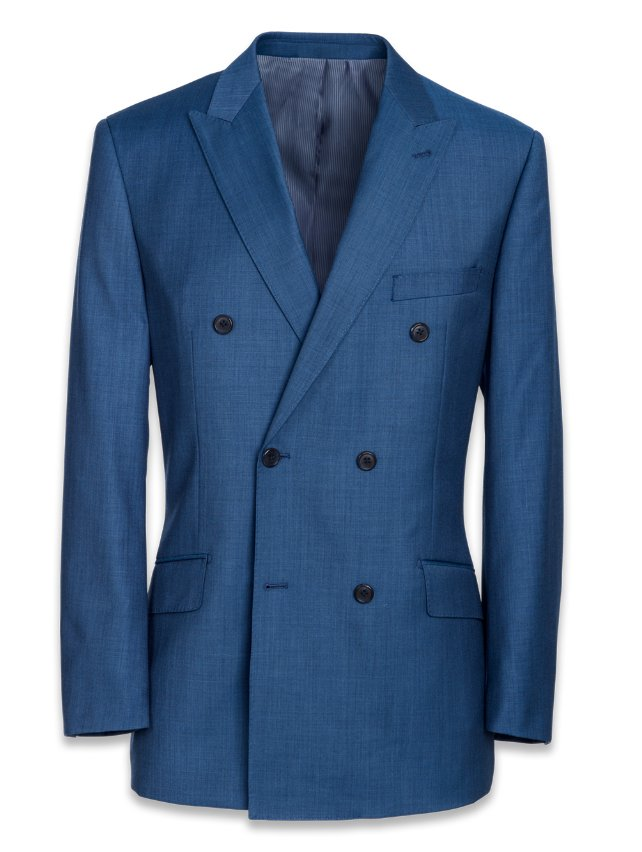 Super 120's Sharkskin Double Breasted Suit Jacket
