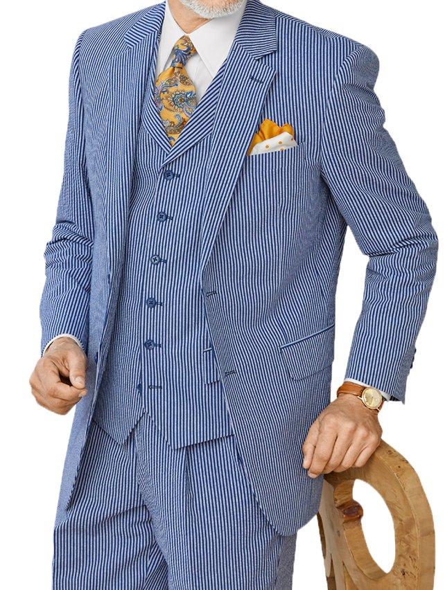 Cotton Seersucker Stripe Suit Jacket