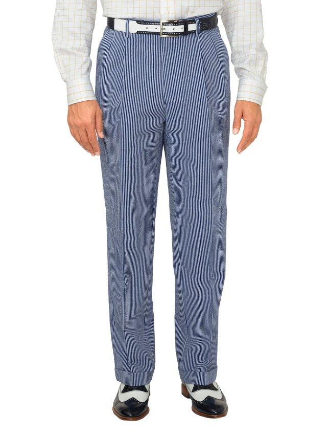 Cotton Seersucker Stripe Pleated Suit Pants