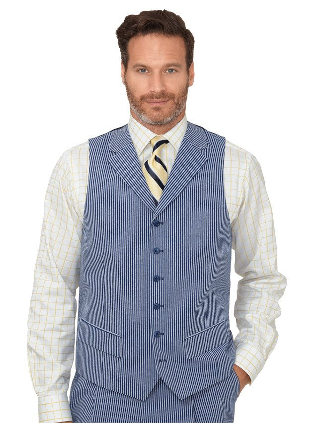 Cotton Seersucker Stripe Suit Vest