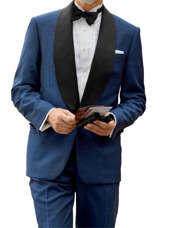 Super 100's Wool Textured Diamond Tuxedo Jacket