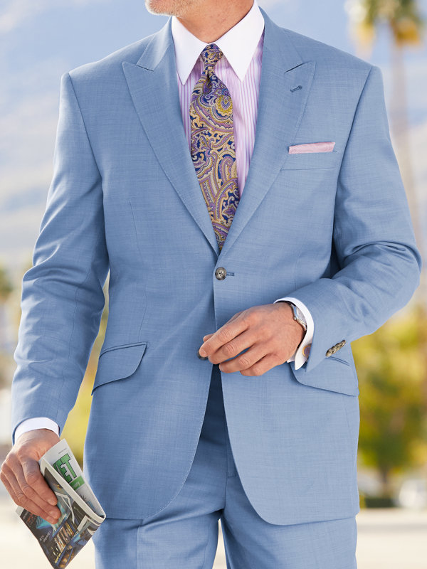 Tailored FIt Sharkskin Peak Lapel Suit Jacket