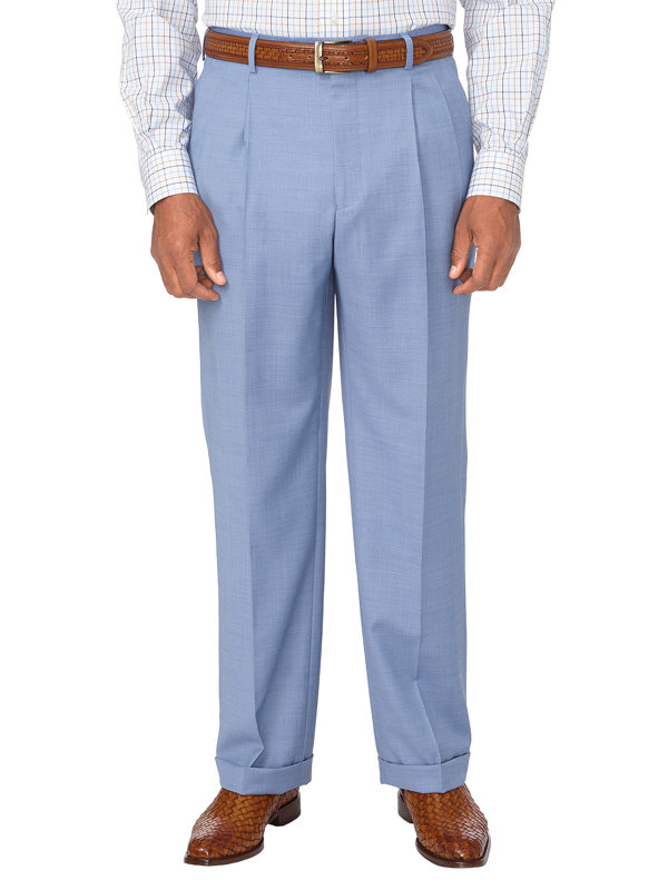 Tailored Fit Sharkskin Pleated Suit Pants